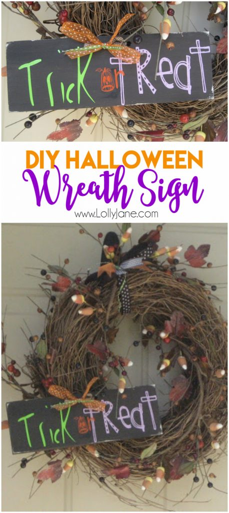 Easy DIY Halloween Wreath Sign! Cute Halloween decor, love this Halloween wreath!