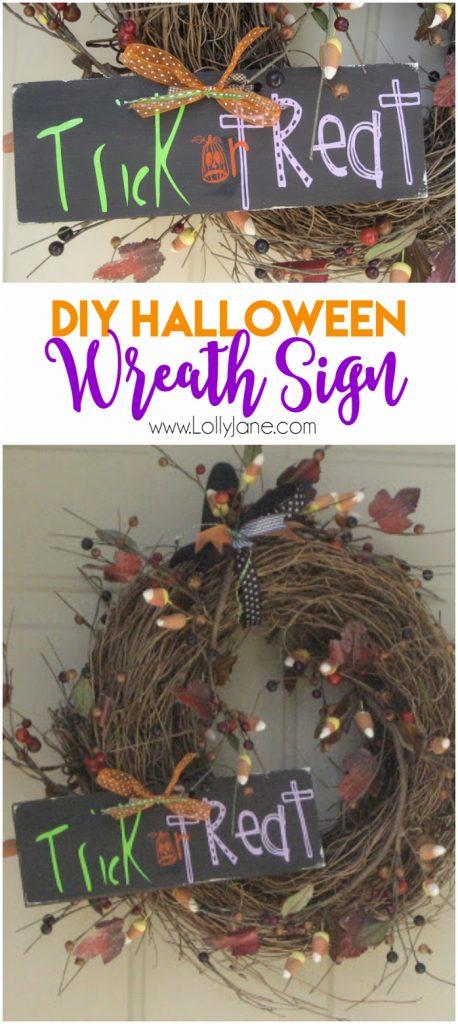 Easy DIY Halloween Wreath Sign! Cute Halloween decor, love this Halloween wreath!