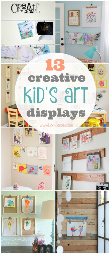 13 creative ways to display kids artwork! All your clutter problems solved, great way to keep kids art displayed!