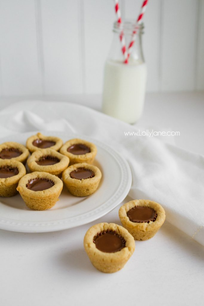 Mini Reese's Peanut Butter Cookie Cups. A family favorite and SO yummy! Love this easy mini Reeses peanut butter cup cookie recipe! Fast cookies are the best for quick dessert ideas!