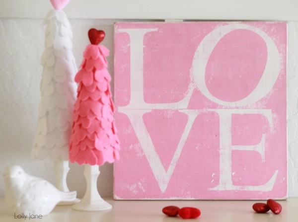 LOVE Valentines Sign lollyjane #valentinesday #craft