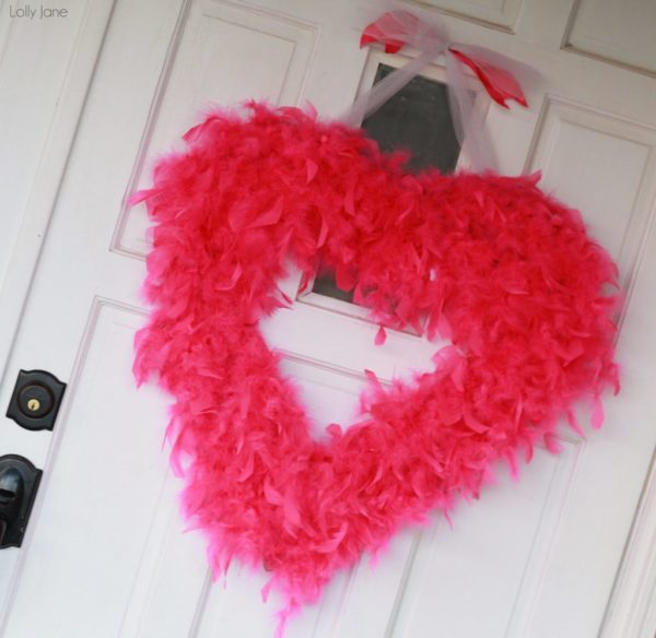 Valentine Day feather boa wreath