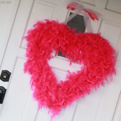 Valentine's Day feather boa wreath