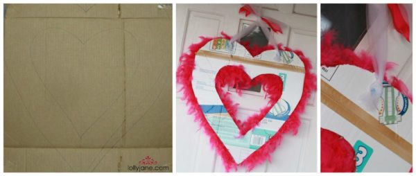 Valentines Day feather boa wreath