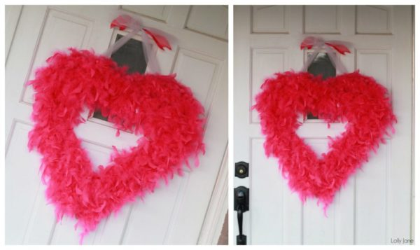 Valentines Day feather boa wreathh