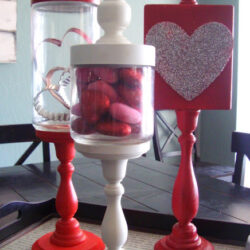 Apothocary jars and Valentines Day plaque