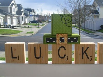 St Patricks Day Lucky Wood Blocks
