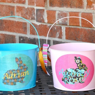 Chalkboard Label Easter Basket Buckets