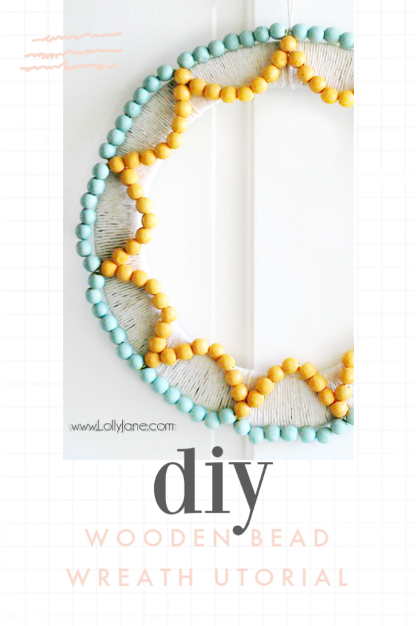 Step by step to make a wooden bead wreath. Such a fun way to greet guests as easy outdoor decor! #woodbeadwreath #howtomakewoodbeadwreath #woodenbeadwreath #diy #tutorial #outdoordecor