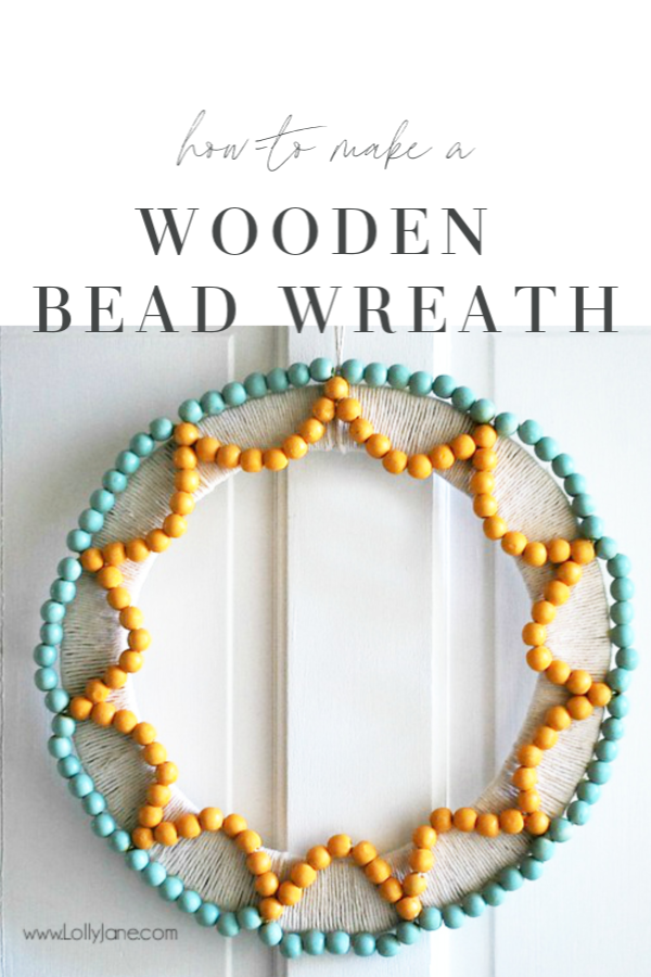 Follow these steps to make a wood bead wreath! Lots of tips and tricks to make a bright and cheery wood wreath for pretty outdoor decor! #woodbeadwreath #wreathtutorial #howto #diy #outdoordecor