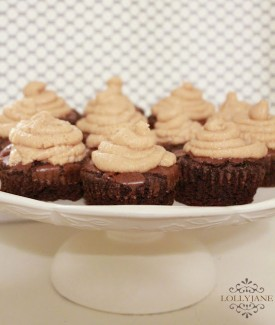 Dark chocolate brownies with peanut butter frosting by Lolly Jane