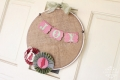 Burlap embrodiery hoop wreath accordion paper pinwheel flowers