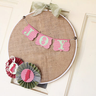 burlap embroidery hoop wreath