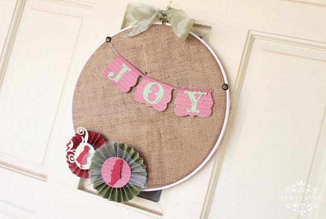 Burlap embrodiery hoop wreath accordion paper pinwheel flowers