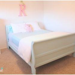 Robin egg blue sleigh bed