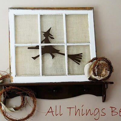 rustic window pane turned Halloween decor