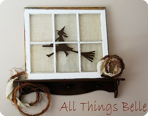 silhouette witch burlap frame