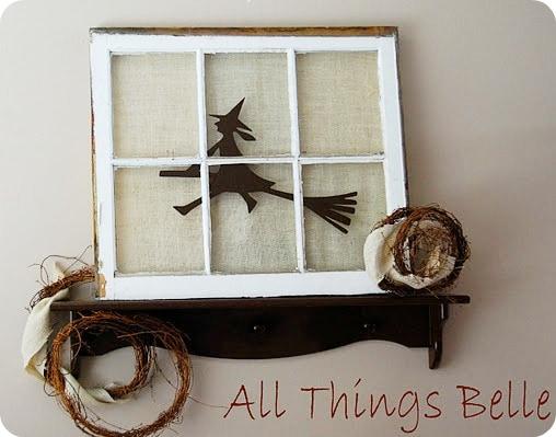 rustic window pane turned Halloween decor