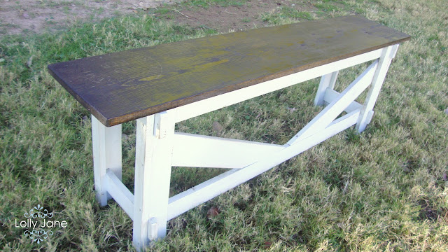 pottery barn farmhouse bench stamp bench DIY