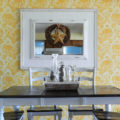 DIY bead board molding mirror. Make this mirror by layering it on top of a piece of wood, wallpapered with bead board wallpaper! Great way to fake a giant custom mirror!