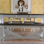 two tone stain dining room table walnut stain blue glazed paint
