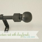 DIY Clay Finials Curtain Rod by Lolly Jane