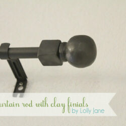 DIY Curtain Rod with Clay Finials