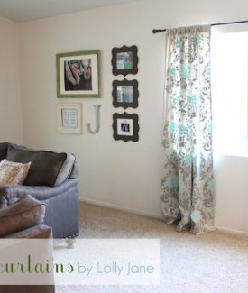 DIY Stenciled curtains with handmade clay finials and curtain rod by Lolly Jane