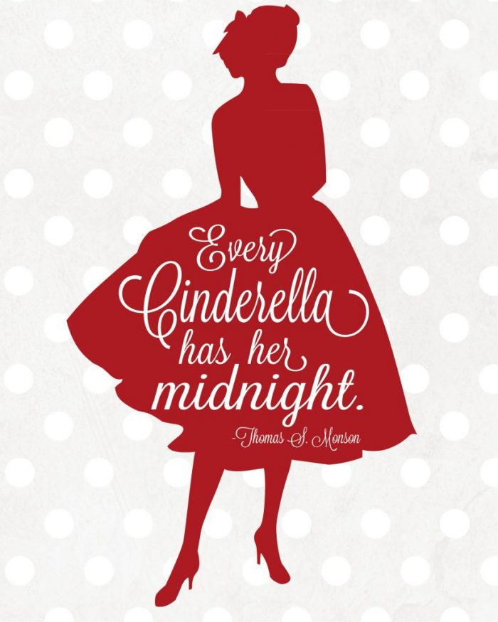 "Free Cinderella Printable via Lolly Jane | ""Every Cinderella has her midnight"""
