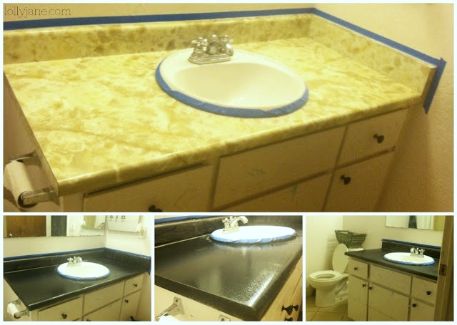 DIY painted countertops, faux granite painted countertops. A great way to freshen up your outdated countertops, seal well!