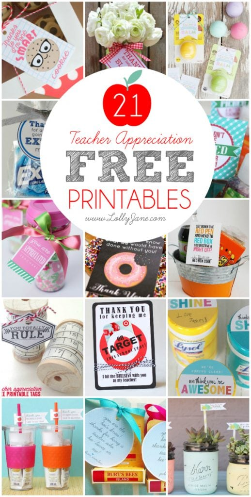 image relating to Free Printable Teacher Appreciation Tags called Trainer Appreciation Presents