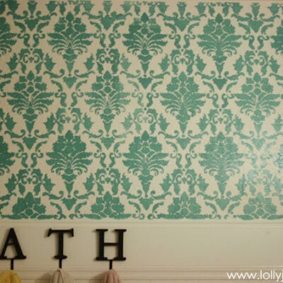 Stenciled bathroom sneak peek