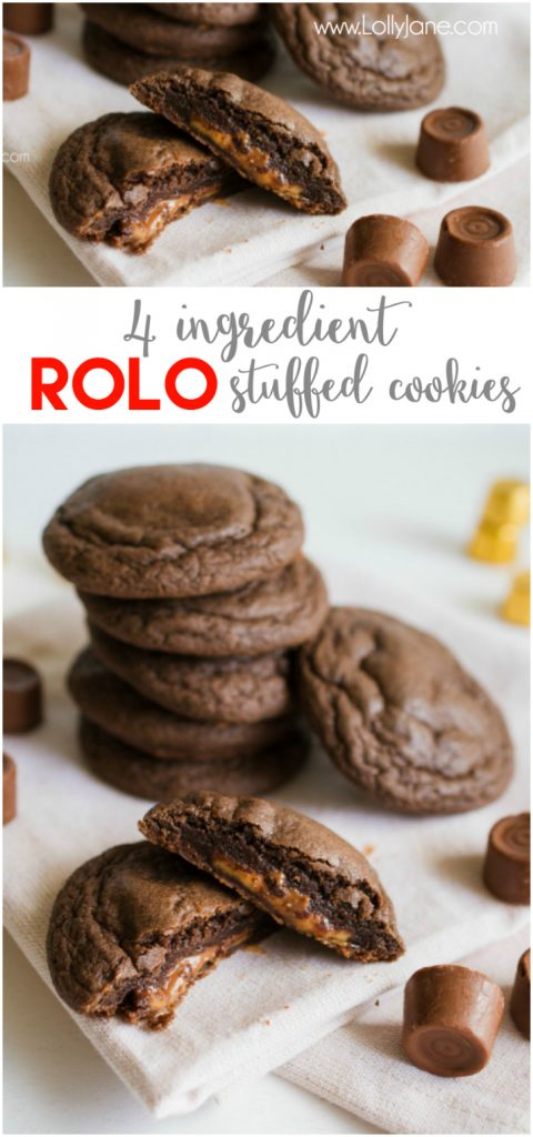 Just 4 ingredients to make these yummy ROLO cookies! We love this caramel treat using a cake mix cookie, easy recipe idea! Love Rolo cookies!