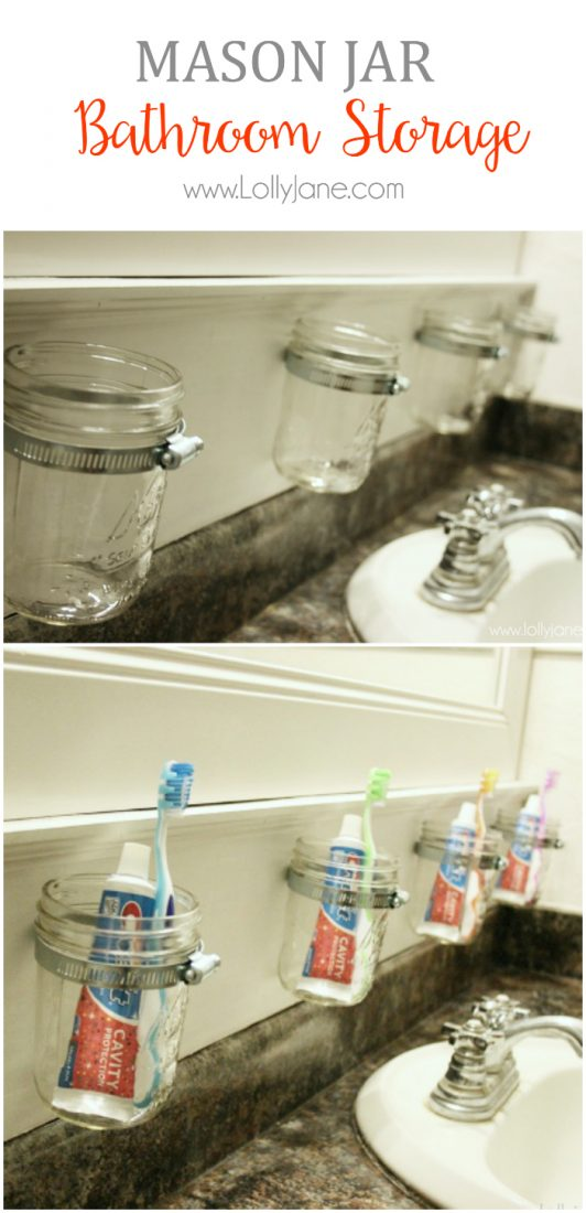 Awesome and easy bathroom storage solution!! How to make this mason jar bathroom storage, so easy! Space saving tip!