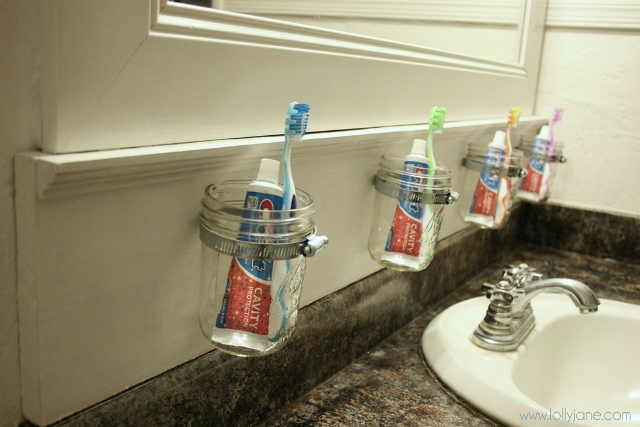 Spectacular Awesome and easy bathroom storage solution How to make this mason jar bathroom storage