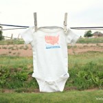 Made in America onesie made using wax paper Lolly Jane