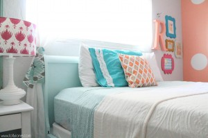 coral polka dot tween room lollyjane