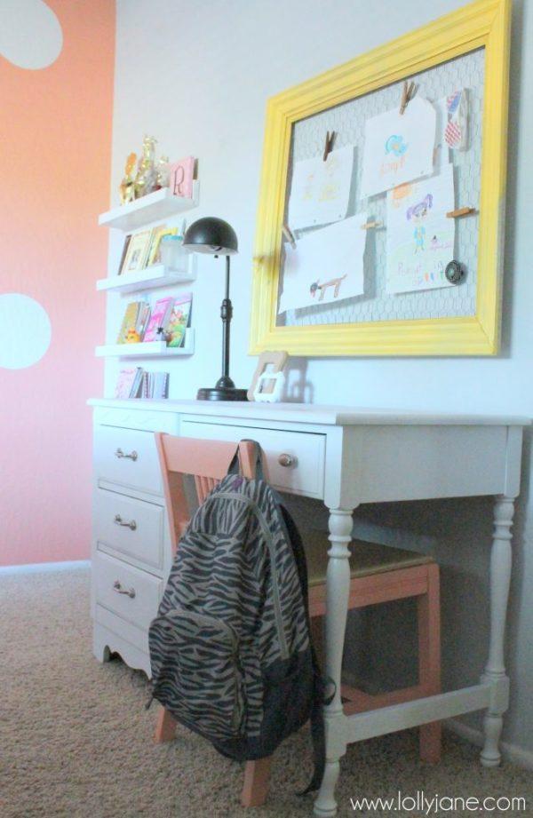 coral tween girl bedroom