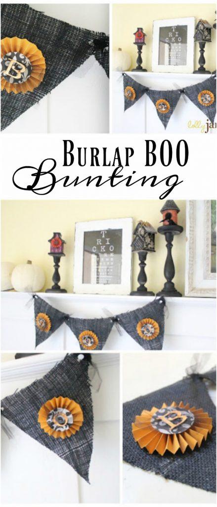 Burlap Halloween bunting tutorial. Love this BOO bunting, cute Halloween decor!