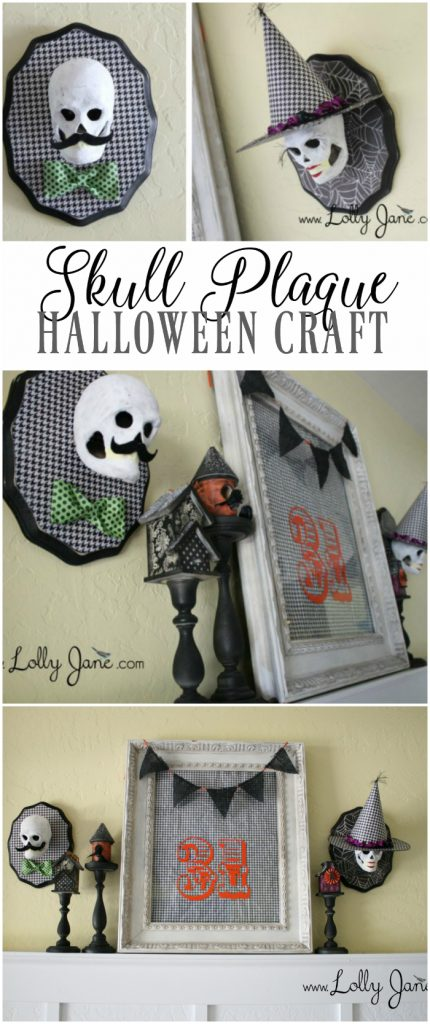 Cute skull plaque Halloween craft idea! Paper mache skulls make a cute Halloween decor idea! Love this simple Halloween mantle.