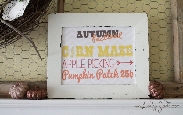 Autumn Wood Sign with free printable