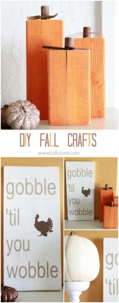 DIY: easy fall crafts! 2x4 pumpkins + Thanksgiving sign | lollyjane.com