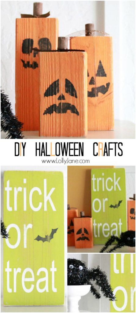 DIY: easy Halloween crafts: 2x4 jack o lanterns + trick or treat sign | lollyjane.com