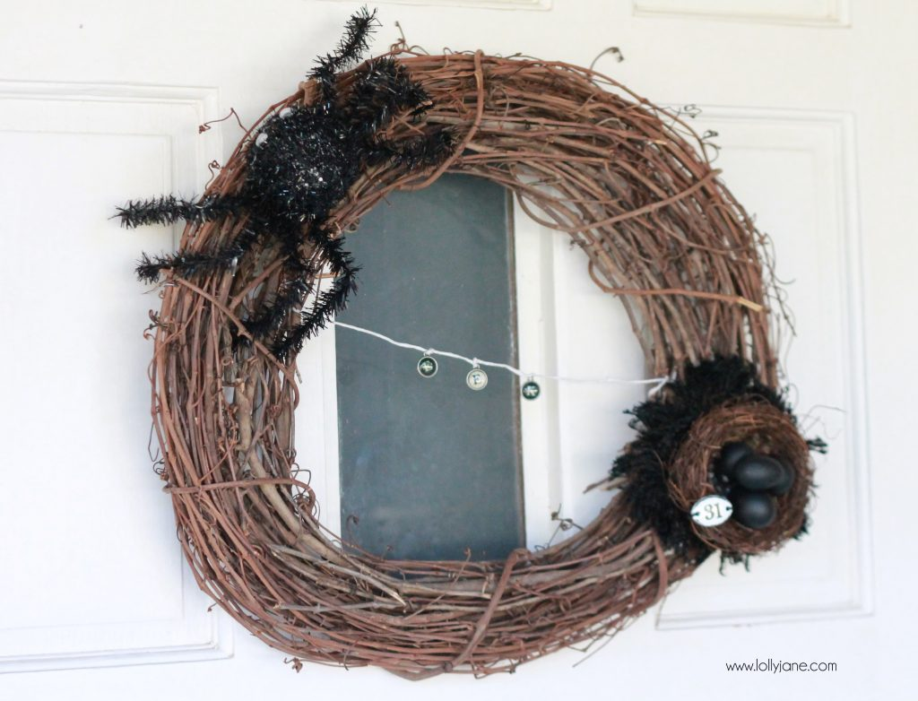halloween spider egg wreath lollyjane.com