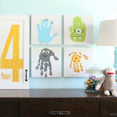 kids hand print artwork