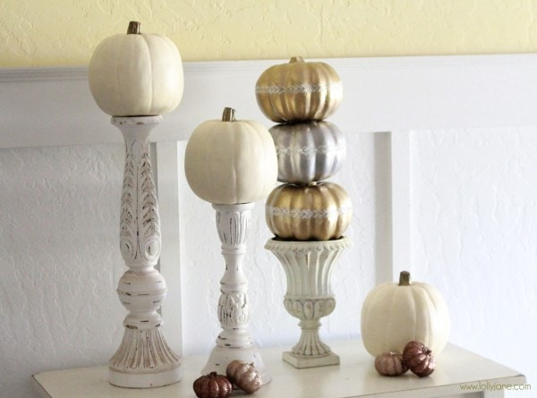 Gilding pumpkin topiary | Wood bunting sign