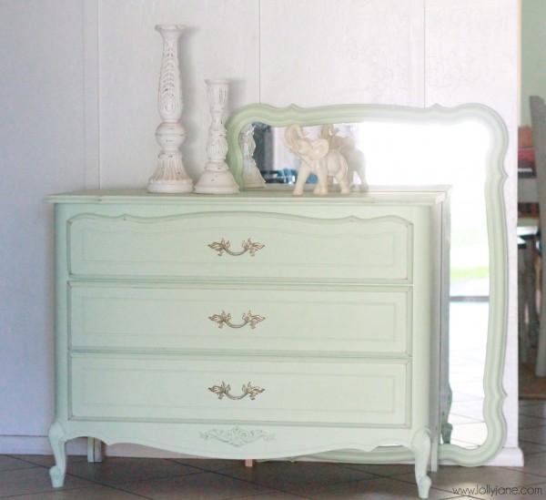 Mint dresser redo for Mint green furniture paint