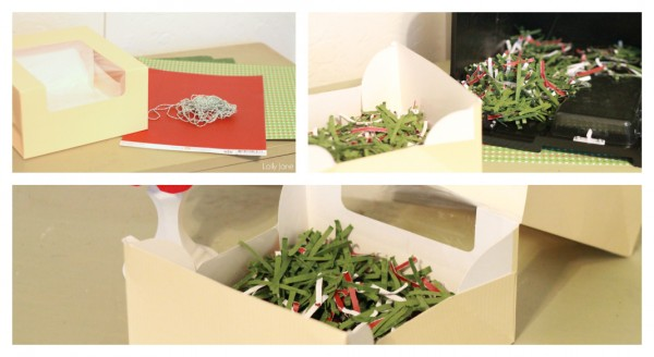 gift packaging idea shred cute scrapbook paper as filler