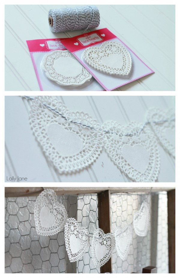 Doily Heart Bakers Twine Bunting |via Lolly Jane.com