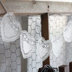 Doily Heart Bakers Twine Bunting